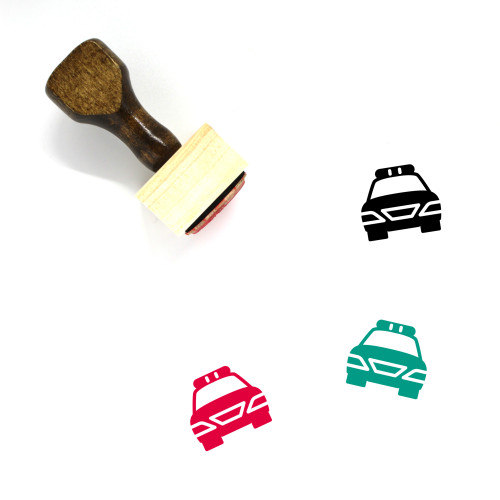 Police Car Wooden Rubber Stamp No. 24