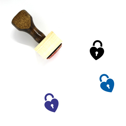 Heart Lock Wooden Rubber Stamp No. 15