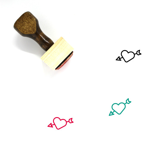 Heart And Arrow Wooden Rubber Stamp No. 10