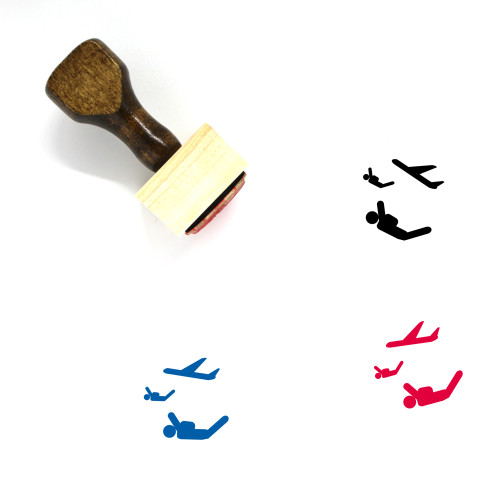 Skydiving Wooden Rubber Stamp No. 4