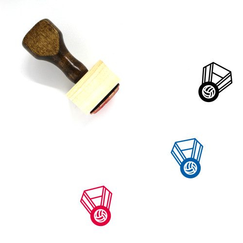 Volleyball Medal Wooden Rubber Stamp No. 8