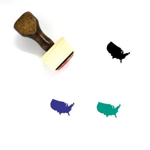 USA Map Wooden Rubber Stamp No. 8