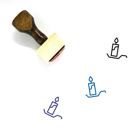 Candle Wooden Rubber Stamp No. 139