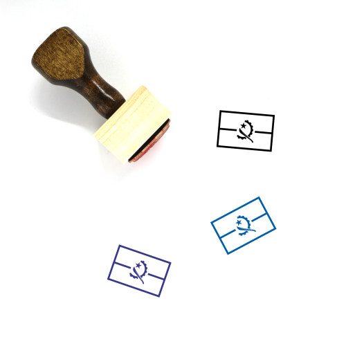 Angola Flag Wooden Rubber Stamp No. 4