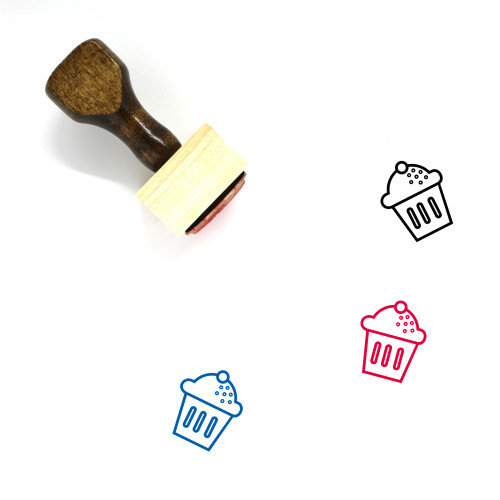 Cupcake Wooden Rubber Stamp No. 35
