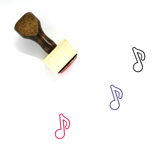 Music Note Wooden Rubber Stamp No. 8