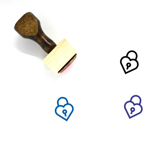Heart Lock Wooden Rubber Stamp No. 16