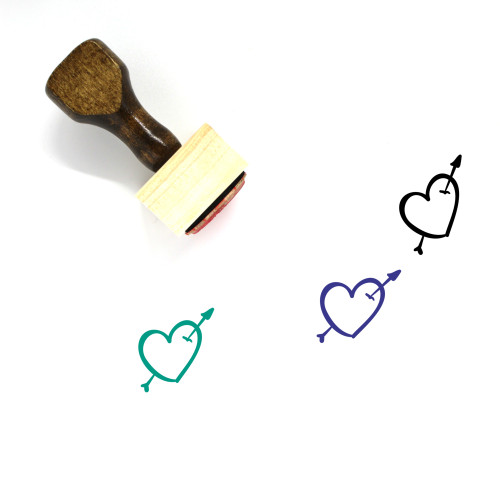 Heart And Arrow Wooden Rubber Stamp No. 12