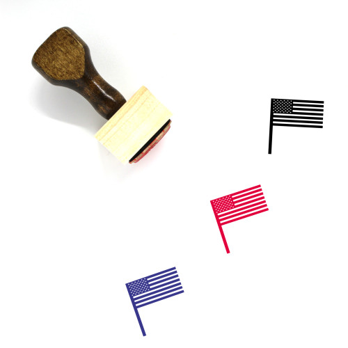 United States Flag Wooden Rubber Stamp No. 17