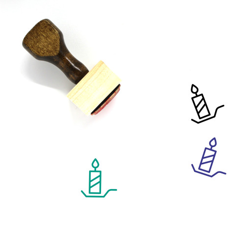 Candle Wooden Rubber Stamp No. 147