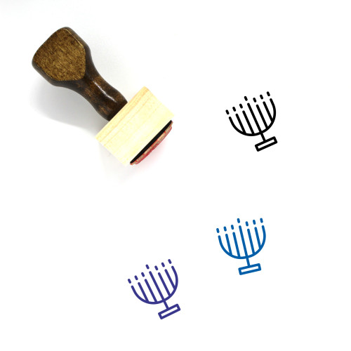 Menorah Wooden Rubber Stamp No. 70