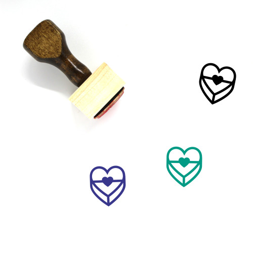 Heart Gift Box Wooden Rubber Stamp No. 4