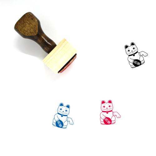 Lucky Cat Wooden Rubber Stamp No. 1
