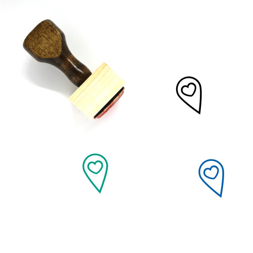 Map Marker Wooden Rubber Stamp No. 117