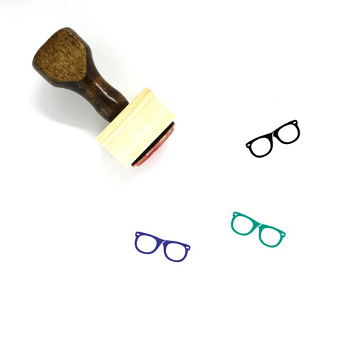 Glasses Wooden Rubber Stamp No. 74