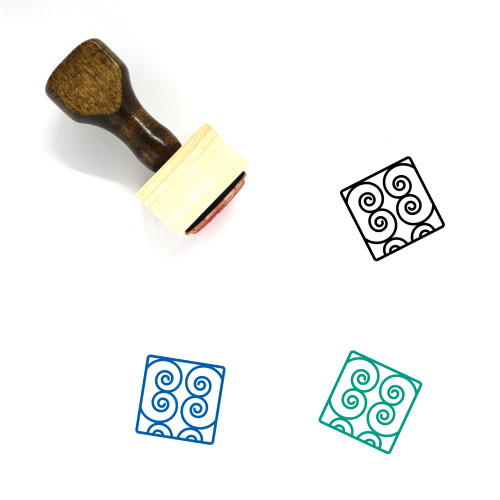 Abstract Wooden Rubber Stamp No. 3