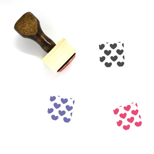 Striped Heart Pattern Wooden Rubber Stamp No. 1