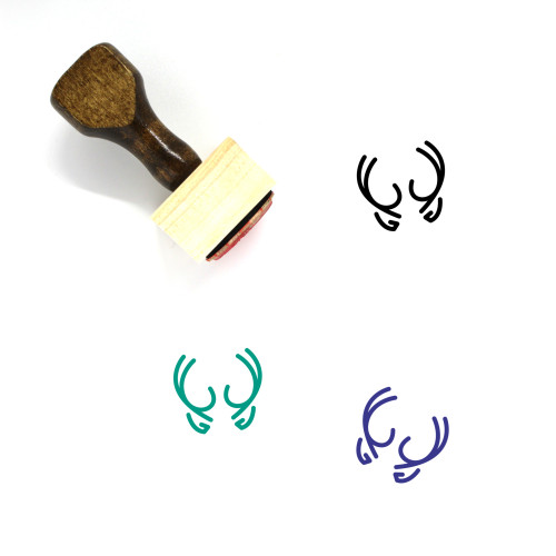 Antlers Wooden Rubber Stamp No. 1