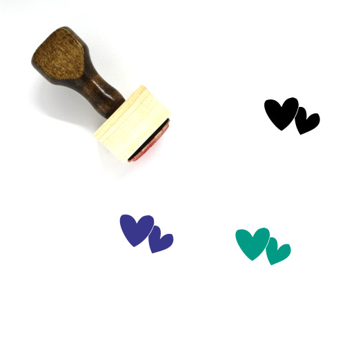 Hearts Wooden Rubber Stamp No. 213