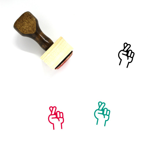Crossed Fingers Wooden Rubber Stamp No. 1