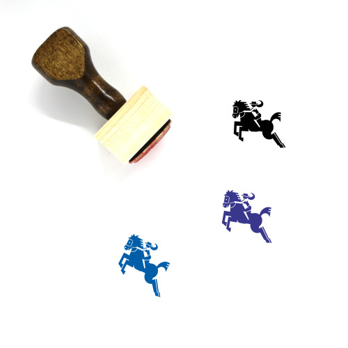 Horse Riding Wooden Rubber Stamp No. 1