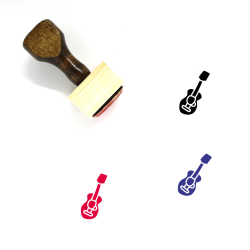 Acoustic Guitar Wooden Rubber Stamp No. 4