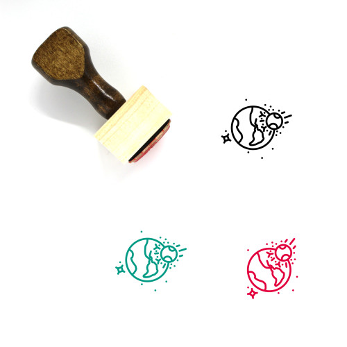 Asteroid Impact Wooden Rubber Stamp No. 1