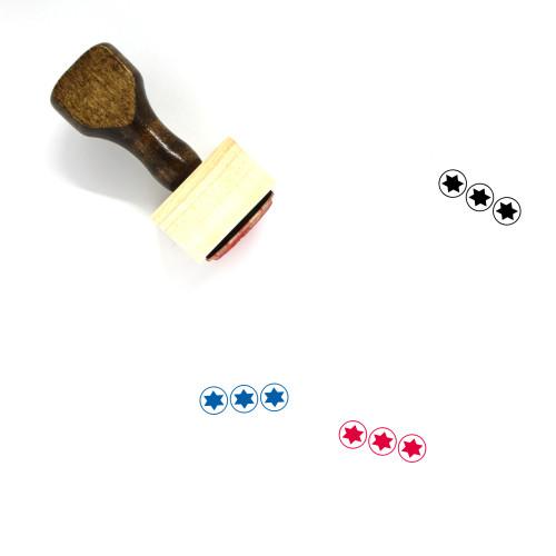 3 Star Rating Wooden Rubber Stamp No. 1