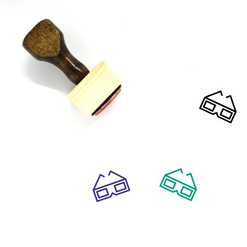 3D Glasses Wooden Rubber Stamp No. 1