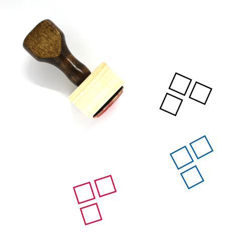 3 Squares Wooden Rubber Stamp No. 1