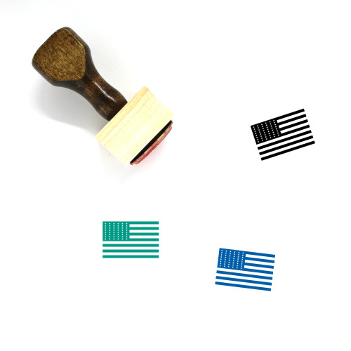 American Flag 1912 Wooden Rubber Stamp No. 1