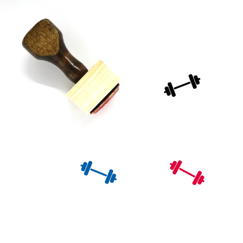Barbell Wooden Rubber Stamp No. 12