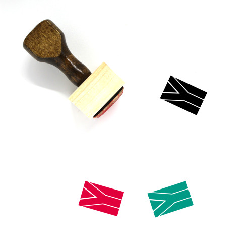 South Africa Flag Wooden Rubber Stamp No. 6