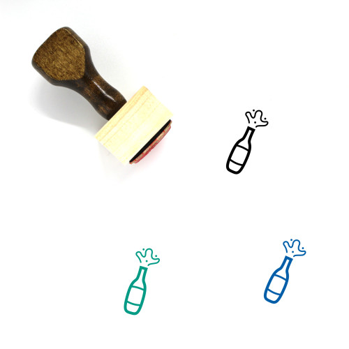 Champagne Wooden Rubber Stamp No. 4