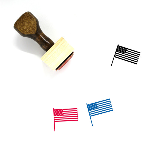 American Flag Wooden Rubber Stamp No. 5