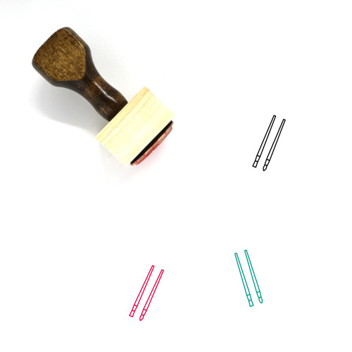 Paint Brushes Wooden Rubber Stamp No. 4