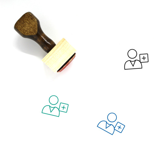 Add User Wooden Rubber Stamp No. 33
