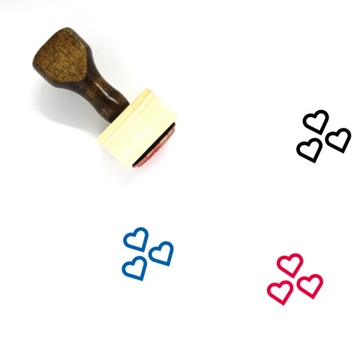 Hearts Wooden Rubber Stamp No. 220