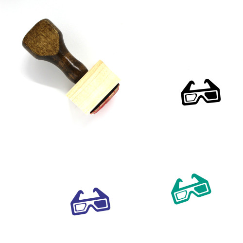 3D Glasses Wooden Rubber Stamp No. 11