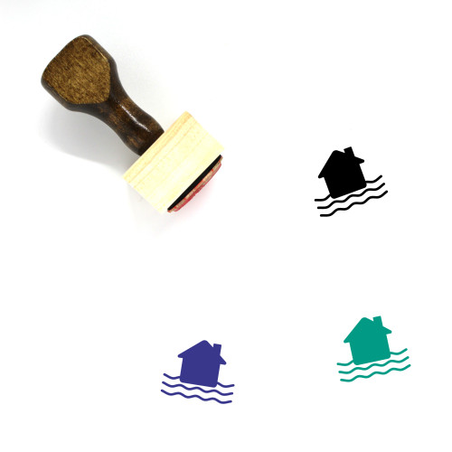 House Flood Wooden Rubber Stamp No. 1