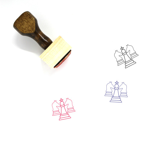 Chess Pieces Wooden Rubber Stamp No. 13