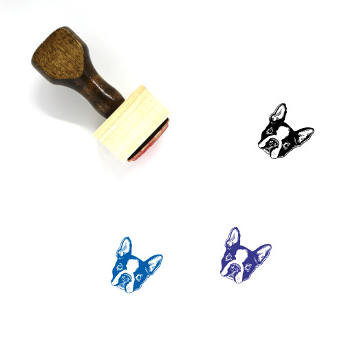Boston Terrier Wooden Rubber Stamp No. 1
