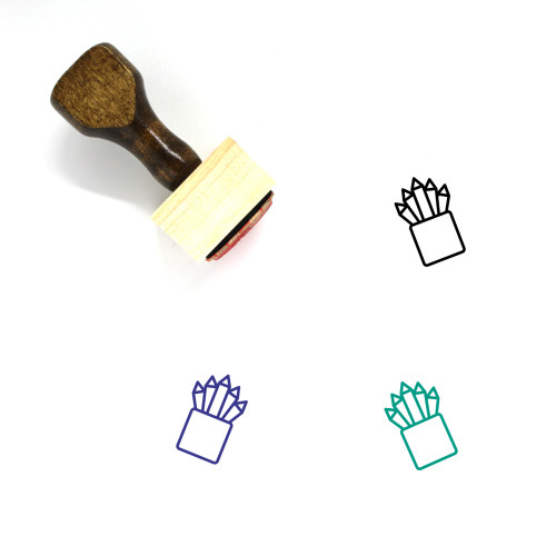 Colored Pencil Wooden Rubber Stamp No. 3