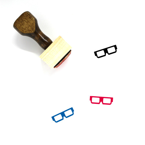 3D Glasses Wooden Rubber Stamp No. 12