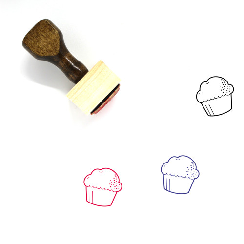 Cupcake Wooden Rubber Stamp No. 52