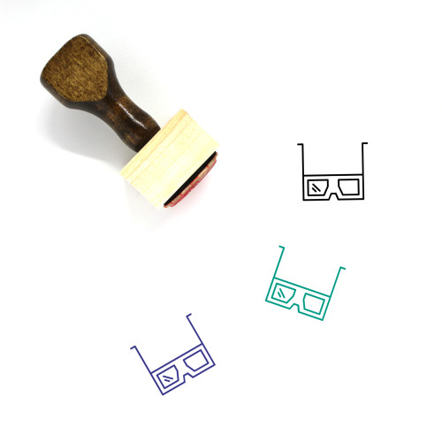 3D Glasses Wooden Rubber Stamp No. 13