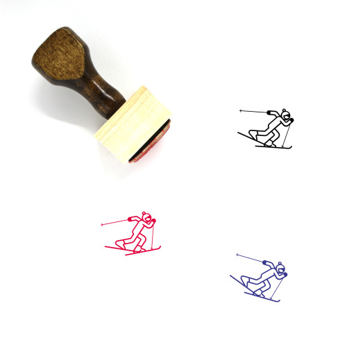 Cross Country Skiing Wooden Rubber Stamp No. 3