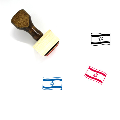 Flag Of Israel Wooden Rubber Stamp No. 2
