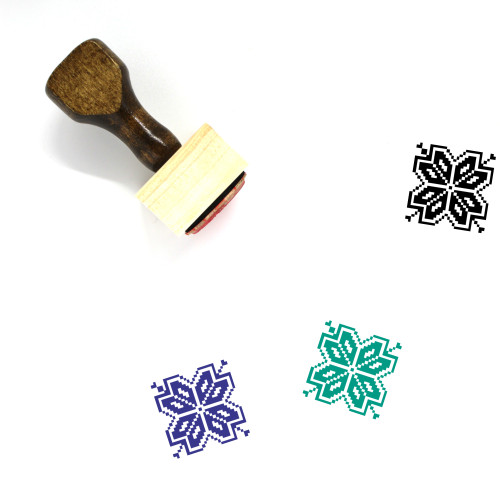 Pixel Flower Wooden Rubber Stamp No. 1