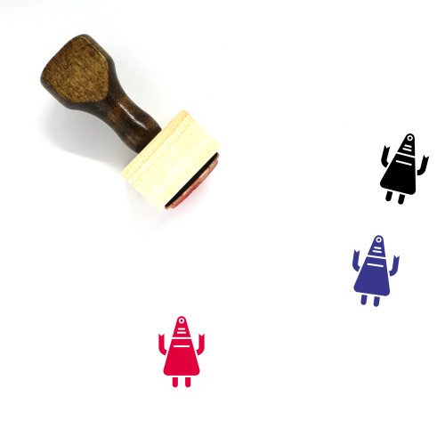 Robot Wooden Rubber Stamp No. 27